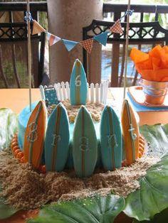 Beach Party Ideas, love the surfboard cake