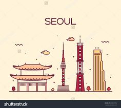 Seoul City skyline detailed silhouette. Trendy vector illustration, line art style.