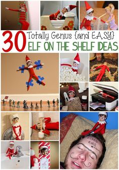 When/if I have kids, TOTALLY doing Elf on a shelf! Every year our elf comes to play after Thanksgiving and stays until Christmas Eve. This is a month's worth of easy Elf on the Shelf Ideas. Noel Christmas, Winter Christmas, All Things Christmas, Christmas Crafts, Christmas Ideas, Christmas Decorations, Christmas Snacks, Xmas Food, Thanksgiving Ideas