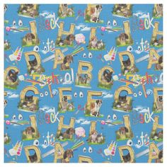 Back To School ABC Fabric - tap/click to get yours right now! #school #capitals #cats #dogs #house-pets
