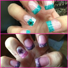 Nails Pink  Purple Blue Mia secret French Acrylic White  Flowers Flower Encapsulated  Tips Glitter