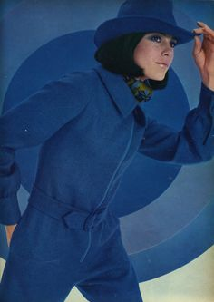 Cobalt Blue Vintage Pantsuit Fashion. 60's