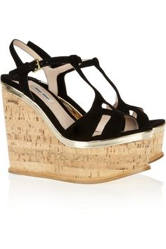 Miu Miu|Suede wedge sandals|NET-A-PORTER.COM