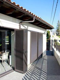 Anusa | Proyectos | Ventanas Outdoor Shutters, Windows Exterior, Grill Door Design, House, Door Design, Patio Door Coverings, Shutters Exterior, Patio Doors, Balcony Grill