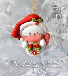 Handcrafted Polymer Clay Snowman Ornament by MyJoyfulMoments