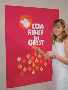 """Parish Confirmation Banner This new Confirmed in Christ"""" banner boldly declares that the young people of your school or parish have answered """"yes"""" to God's promises for them. This felt banner includes adhesive-backed dove and flame symbols and letters for..."""