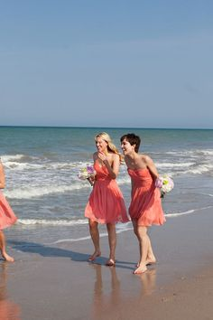 I didn't realize how much of a modern bride I was until I saw these gorgeous Vero Beach nuptials and decided that I needed to have this exact wedding for my own big day. From the vibrant coral and b. Beach Wedding Bridesmaids, Coral Bridesmaid Dresses, Sister Wedding, White Wedding Dresses, Dream Wedding, Peach Dresses, Bridesmaid Color, Fantasy Wedding, Gown Wedding