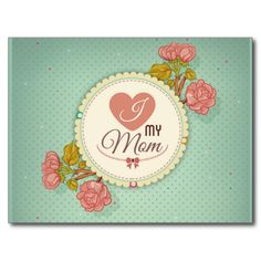 Retro mother's day flower pattern post card