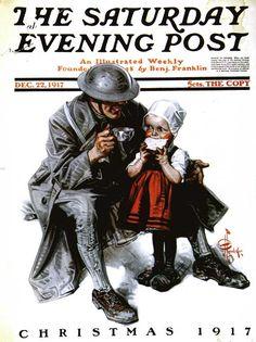 """Soldier's Christmas,"" Dec. 22, 1917, by J. C. Leyendecker"