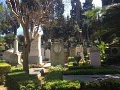 The leafy and peaceful non-catholic cemetery of Rome with its tall stones and shady trees is one of the most romantic corners of the city and one the many free things you can do in Rome