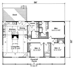 Switch the dining area and the kitchen First Floor Plan of Country   Ranch   Traditional   House Plan 20227