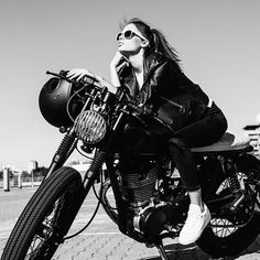 Just wait until you hear the roar of the engine and see her move. #motorcyclelife #bikergirl . . . #bw #womenbikers #styleinspiration #awesome #caferacer #leatherjacket #motorcycle
