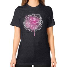 Watercolor Rose Geometric Unisex T-Shirt (on woman)