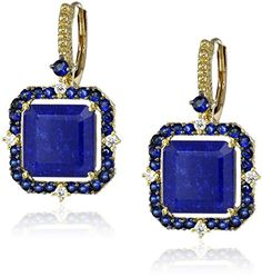 Judith Ripka Lila 18k Gold Lapis Doublet AsscherCut Drop Earrings 110cttw GH Color SI1 Clarity *** Be sure to check out this awesome product. Note: It's an affiliate link to Amazon