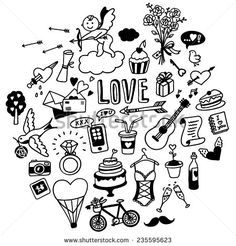 Hand-Drawn Love Doodles Ilustración vectorial en stock 235595623 : Shutterstock