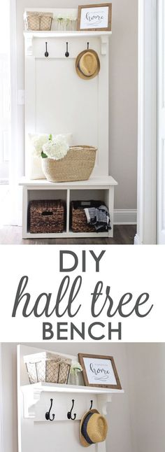 DIY Entryway hall tree bench, perfect for providing small space organization in entryways, mudrooms, & hallways! Click here for the free plans!