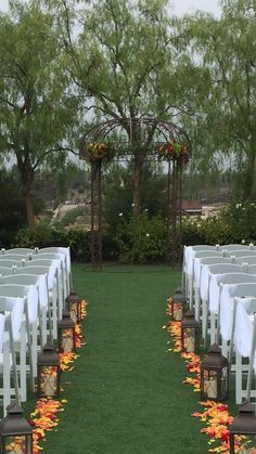 Fall wedding at Falkner Winery. Lanterns chair draping arbor decor and aisle petals. pleased actuality Fall wedding at Falkner Winery. Lanterns chair draping arbor decor and aisle petals. pleased actuality Wedding Aisles, Wedding Ceremony Ideas, Fall Wedding Arches, Wedding Aisle Decorations, Wedding Lanterns, Fall Wedding Flowers, Wedding Seating, Autumn Wedding, Fall Lanterns