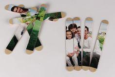 Puzzle photo avec bâtonnets en bois - Activités enfantines - 10 Doigts Puzzle Photo, Puzzles, Photo Wall, Frame, Bracelets, Creative, Diy, Family Games, Pictures