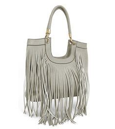 9796ce6e5443 Beaute Bags Maddee Fringe Tassel Shoulder Handbag Vegan Leather Pewter     Find out more about the great product at the image link.