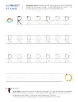 Uppercase R letter tracing worksheet, with easy-to-follow arrows showing the proper formation of the letter.