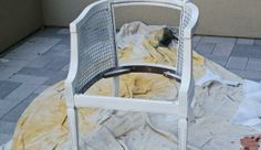 Painting cane back chair