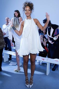 Rihanna attends the Adam Selman Fashion Show in NYC.