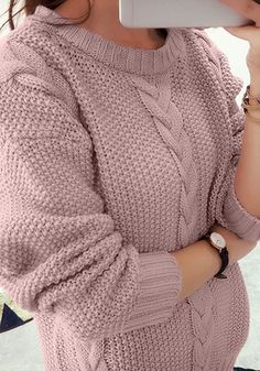 Bitterly cold mornings are instantly more bearable when you're bundled up in this pink cable knit sweater. It features cable knit design together with ribbed detailing at crew neckline, cuffs of long sleeves and bottom hem. Fall Fashion Outfits, Knit Fashion, Winter Sweaters, Cable Knit Sweaters, Women's Sweaters, Crochet Sweater Design, Tee T Shirt, Dress Neck Designs, Knitting Designs