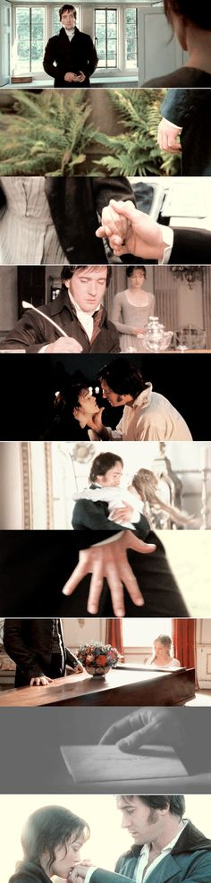 """The frequent close-ups of Matthew Macfadyen's hand are a reference to the fact that the ultimate goal of the Bennet sisters' lives is a wealthy man's """"hand"""" in marriage, and a foreshadowing of the fact that Elizabeth does in fact eventually win Darcy's """"hand""""."""