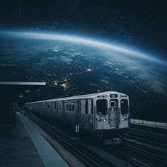 🚉Space Station ⠀⠀ Art by ⠀⠀ Surreal Collage, Surreal Art, Photomontage, Digital Foto, Magazin Design, Earth From Space, Sky Aesthetic, Psychedelic Art, Photo Manipulation