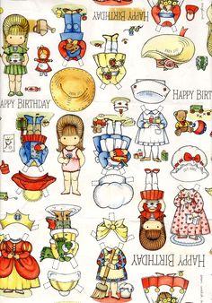 paper doll vintage gift wrap