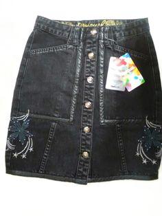 52600e5d71 Desigual fal martia denim skirt. Black denim Mini skirt. Faux leather  detailing on skirt
