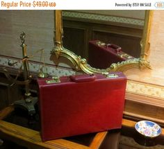 Anniversary Sale Sweet Currant Red Leather Briefcase With Brass Combination Lock- Very Nice