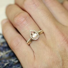 Halo Diamond Pear Morganite Engagement Wedding Ring Set In 14k Yellow Gold 9x6mm Pink Peach