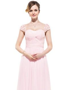 A-Line/Princess Sweetheart Floor-Length Chiffon Tulle Evening Dress With Ruffle Beading Flower(s) (017045215) - JJsHouse