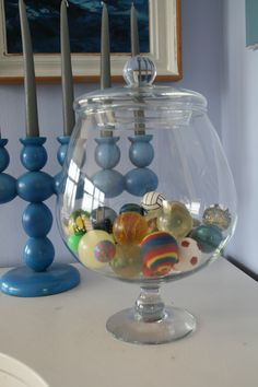 Bouncing balls kept in a glass bowl.
