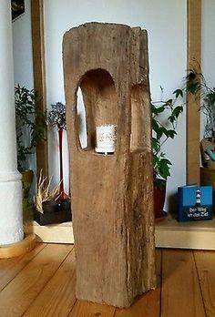 Altholz Eichenholz Teelicht Laterne Windlicht   Skulptur Stele Holzsäule Balken