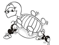 Desenho da Tartaruga e as Formigas para Colorir - Desenhos Para