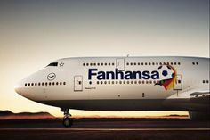 """Lufthansa on the 16th of May, the first """"Fanhansa Airbus"""" took off from Munich to Hamburg and London. Followed by two additional short-haul aircraft and a total of five long-haul aircraft, including the Boeing 747-8 Intercontinental, the world's longest aircraft, which will feature the 'Fanhansa' logo."""