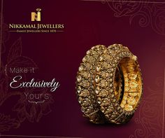 Make this pair of Artisanal Bangles exclusively yours. Visit us at Nikkamal Jewellers Ludhiana & Jalandhar Showrooms to place your order. Pakistani Jewelry, Indian Wedding Jewelry, Bridal Jewelry, Indian Jewelry, Gold Bangles, Silver Bracelets, Bangle Bracelets, Pearl Necklaces, Stylish Jewelry