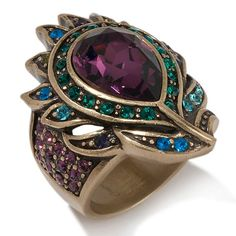 """Pretty as a Peacock"""" Crystal Pin at HSN."""
