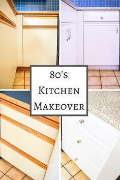 Do you have an ugly 80s kitchen with melamine cabinets and oak grab bars? Put off remodeling and paint your kitchen cabinets instead! With the right paint, new hardware and contact paper for the countertop, you'll have a fresh, modern look! | kitchen | kitchen ideas | paint kitchen cabinets | how to paint kitchen cabinets | kitchen makeover | melamine kitchen cabinets | oak cabinets | cheap kitchen update | cheap kitchen ideas | cheap kitchen makeover