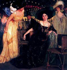 Óleo de Eduardo Chicharro Agüera. Elegante grupo de damas (y algún caballero) en un teatro español hacia 1910