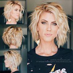 Kurzer blonder Bob mit leichten Locken , Short Blonde Bob with Easy Curls , Hair Curled Source by Short Bob Hairstyles, Curled Hairstyles, Easy Hairstyles, Hairstyles For Fat Faces, Hairstyle Ideas, Short Layered Haircuts, Trending Hairstyles, Popular Short Haircuts, Inverted Bob Haircuts