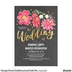 Vintage Floral Chalkboard and Gold Wedding