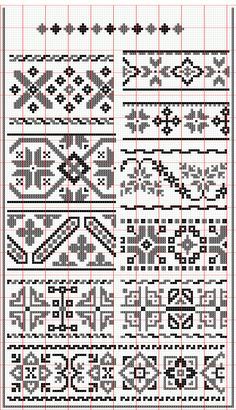 Red and Black Hungarian Folk Embroidery Cross Stitch Borders, Cross Stitch Samplers, Cross Stitch Charts, Cross Stitching, Cross Stitch Patterns, Folk Embroidery, Cross Stitch Embroidery, Loom Patterns, Beading Patterns