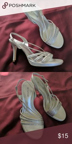 Strappy silver 3 in heels 3 in heels. Silver. Worn once to prom. Metaphor Shoes Heels