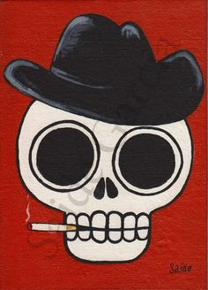 Cowboy Day of the Dead Skull 5x7 Original Print by saide on Etsy, $5.00