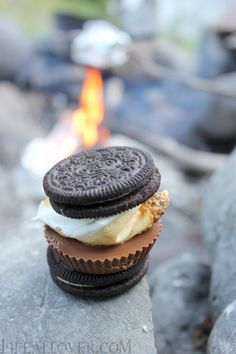 """""""S'mores"""" made with Oreos and Reese's cups instead of graham crackers and plain chocolate."""
