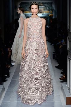 """La règne du Printemps"" dress in tea rose silk tulle embroidered with lilac lamé, pearls, crystals and raffia.  Shoes embroidered with lamé, pearls, crystals and raffia.    http://www.valentino.com/en/collections/haute-couture/"