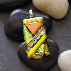 Autumn Fused Glass Pendant, yellow, gold, orange